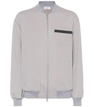 jacket embellished cotton grey