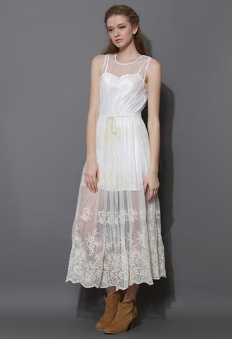 dress white mesh crochet maxi premium smock
