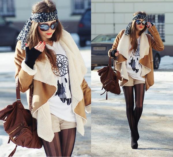 coat drape coat camel shearling coat boho suede