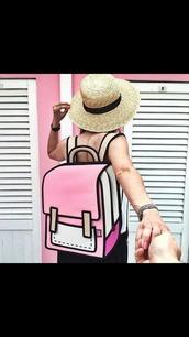 bag,pink,backpack,2d,jumpfrompaper,summer,cute,grunge,designer bag,designer