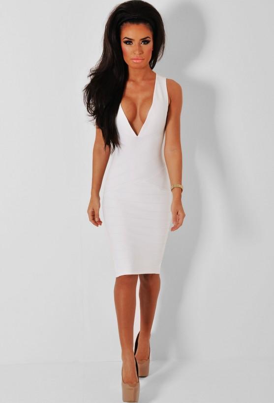 Provocative White V-Neck Bandage Midi Dress | Pink Boutique