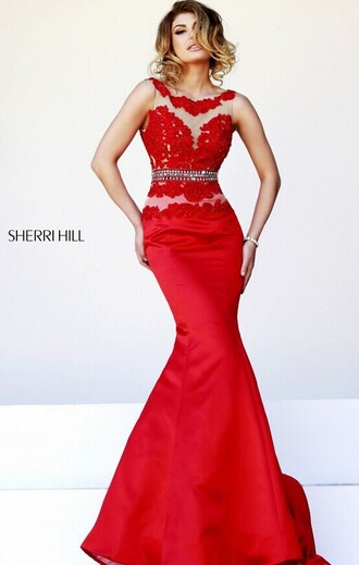 sparkling waistband red/nude prom gown sh32033 dress