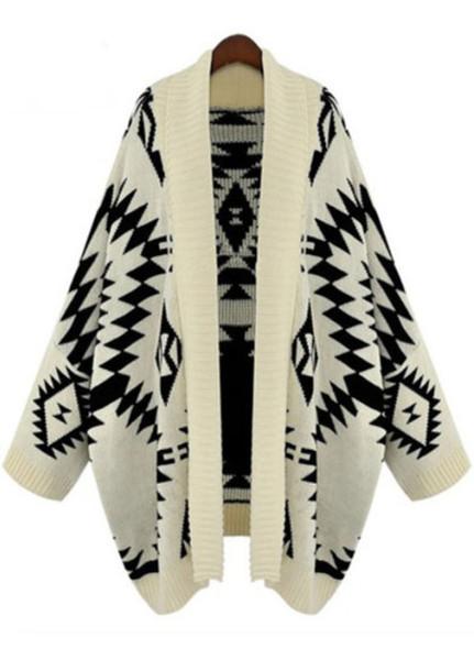 sweater cardigan aztec black and white