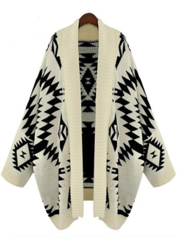 sweater cardigan aztec black and white
