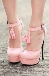 shoes,fashion,pink,tassel,scalloped,pastel,heels,platform shoes