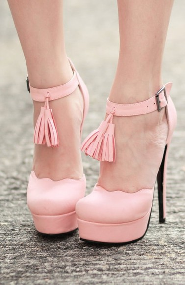 scalloped shoes fashion shoe pink tassels pastel high heels platform