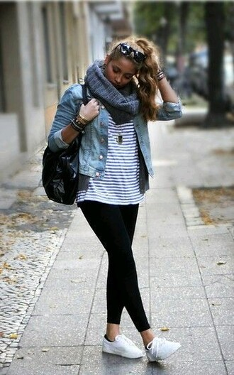 shoes bag jacket black and white striped shirt denim jacket black jeans white sneakers blogger