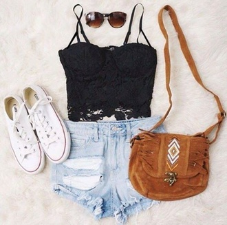 bag cross bag lace shirt sunglasses shorts ripped shorts converse white converse black lace shirt blouse