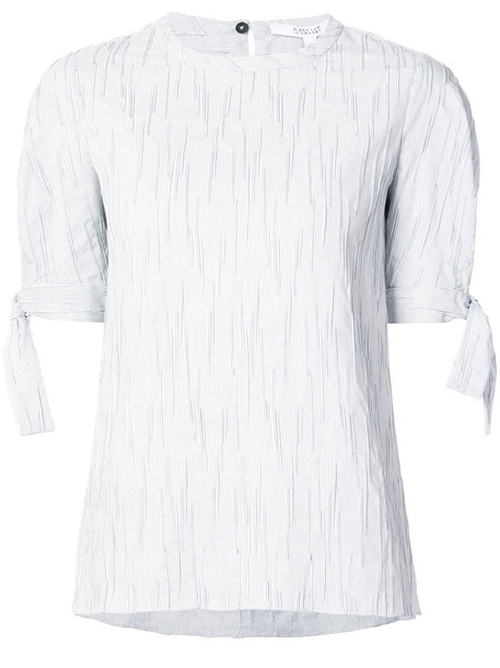Derek Lam 10 Crosby - Short Sleeve Crewneck Top With Tie Detail - women - Cotton/Polyester/Polyurethane - 0, White, Cotton/Polyester/Polyurethane