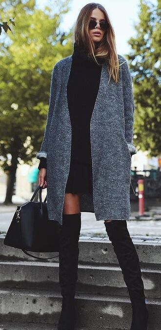 cardigan black boots black dress grey cardigan thigh high boots black bag givenchy bag round sunglasses tall girls