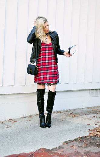 love maegan blogger bag soft grunge tartan red dress knee high boots leather jacket shoes dress jacket jewels sunglasses