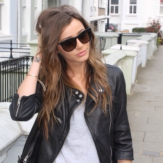 jacket leather saint laurent eleanor calder leather jacket biker jacket sunglasses jewels