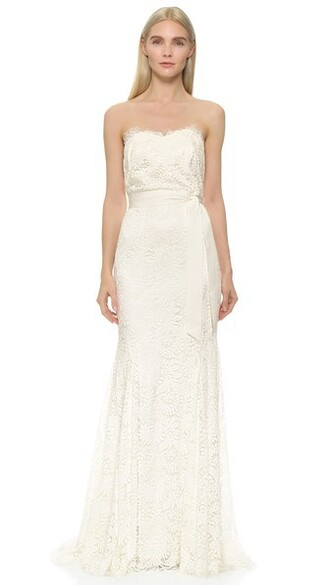 gown strapless lace white dress