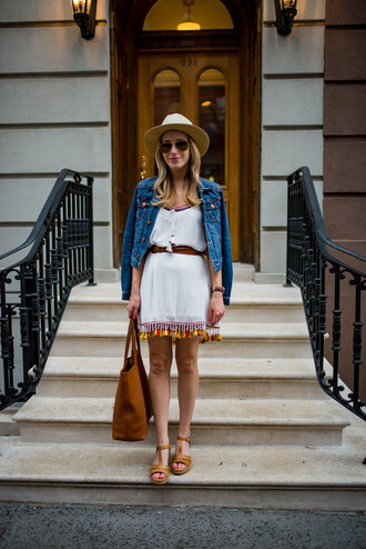 katie's bliss - a personal style blog based in nyc blogger shoes dress jacket bag hat jewels tote bag denim jacket mini dress sandals spring outfits