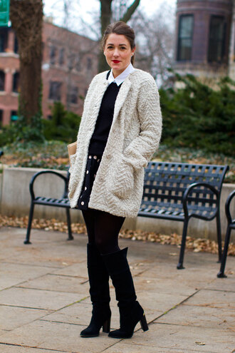 sequins and stripes blogger polka dots winter outfits sweater coat blouse skirt tights shoes bag make-up