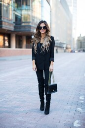 maria vizuete,mia mia mine,blogger,sunglasses,black vest,black bag,black jeans,knee high boots