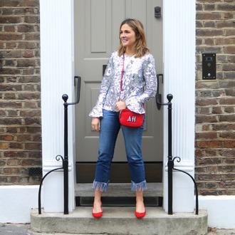 blogger top jeans shoes bag high heel pumps pumps crossbody bag red bag sequin top