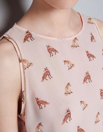 shirt fox pink sleeveless