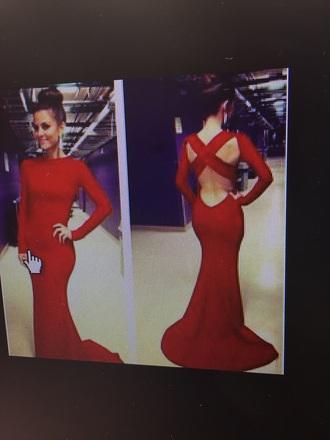 dress long sleeve red prom dress