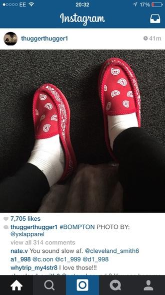 shoes bandana print red shoes