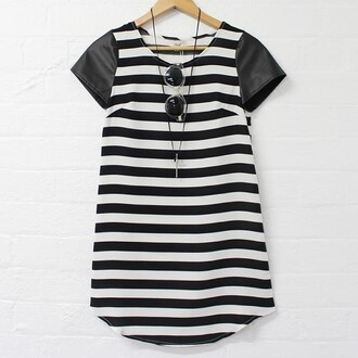 dress striped dress black and white dress shift sunglasses