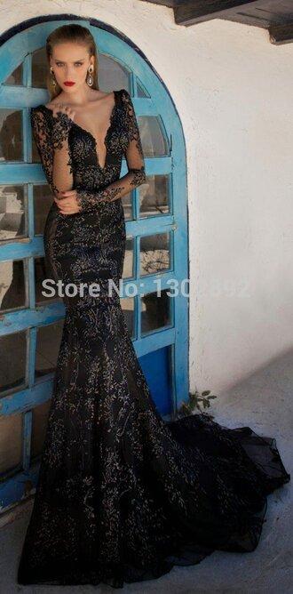 v-neck long sleeves black prom gown mermaid evening dresses