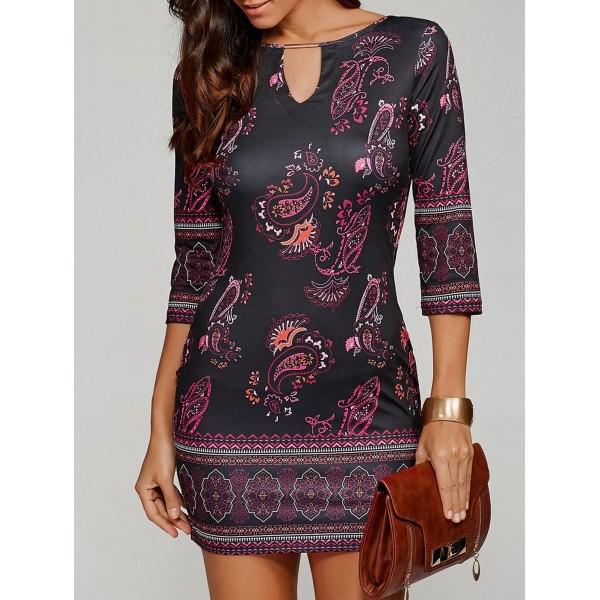 Rosewholesale Paisley Keyhole Neck Bodycon Short Dress in black