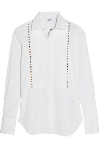 shirt studded white cotton top