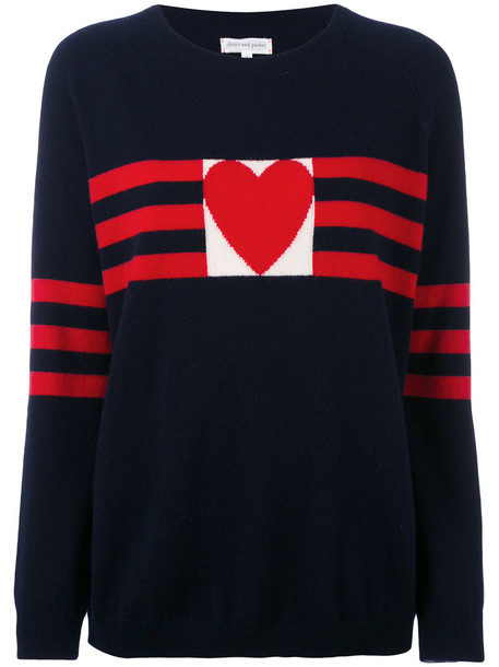 Chinti & Parker - cashmere love heart sweater - women - Cashmere - M, Blue, Cashmere