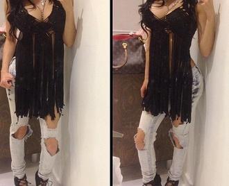 top fringes jeans black blouse crop tops