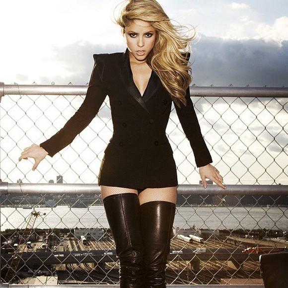 black blazer jacket blazer dress shakira latino thigh high boots