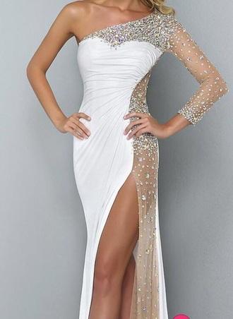 dress long prom dress one shoulder