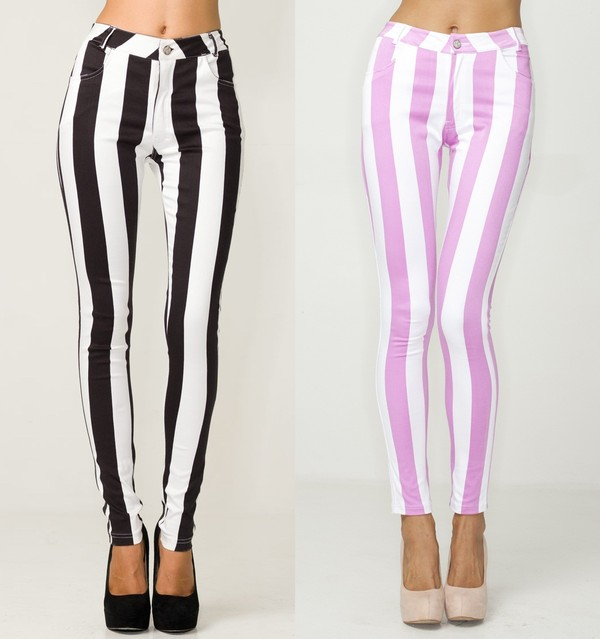 jeans black and white striped jeans stripes black white pink