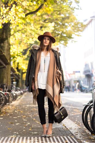 blogger bag camel the fashion fraction blanket scarf blouse parka