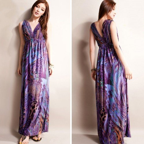 2013 hot selling women sexy maxi dress purple peacock totem bohemian dresses new fashion empire waist cq0009