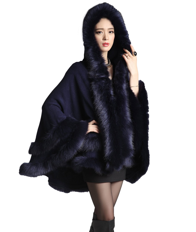 Women's faux fox fur trim hooded cape wool blend cloak winter warm coat plus size (dark blue) at amazon women's coats shop