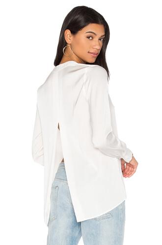 blouse back slit satin white top