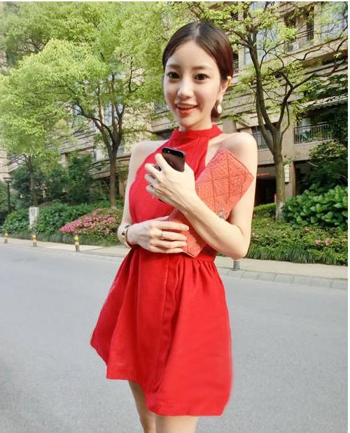 High quality 7723 stand collar slim waist ladies one-piece dress sale | Amazing Shoes UK