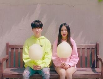 jacket kpop block b gfriend park kyung eunha cute kawaii kstyle kfashion hoodie pink yellow
