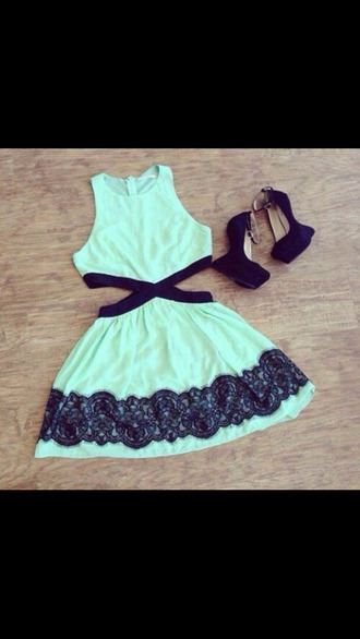 dress mint dress mint sundress mint cut-out black lace cute dress blue dress outfit fancy mint cutout dress light green dress mint with black lace turquoise black heels lace dress