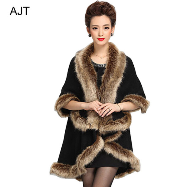 cardigan cape winter cape faux fur collar knitted open stitching shawls shawls shawl knitted shawl faux fur neck knitted shawl knitted cardigan