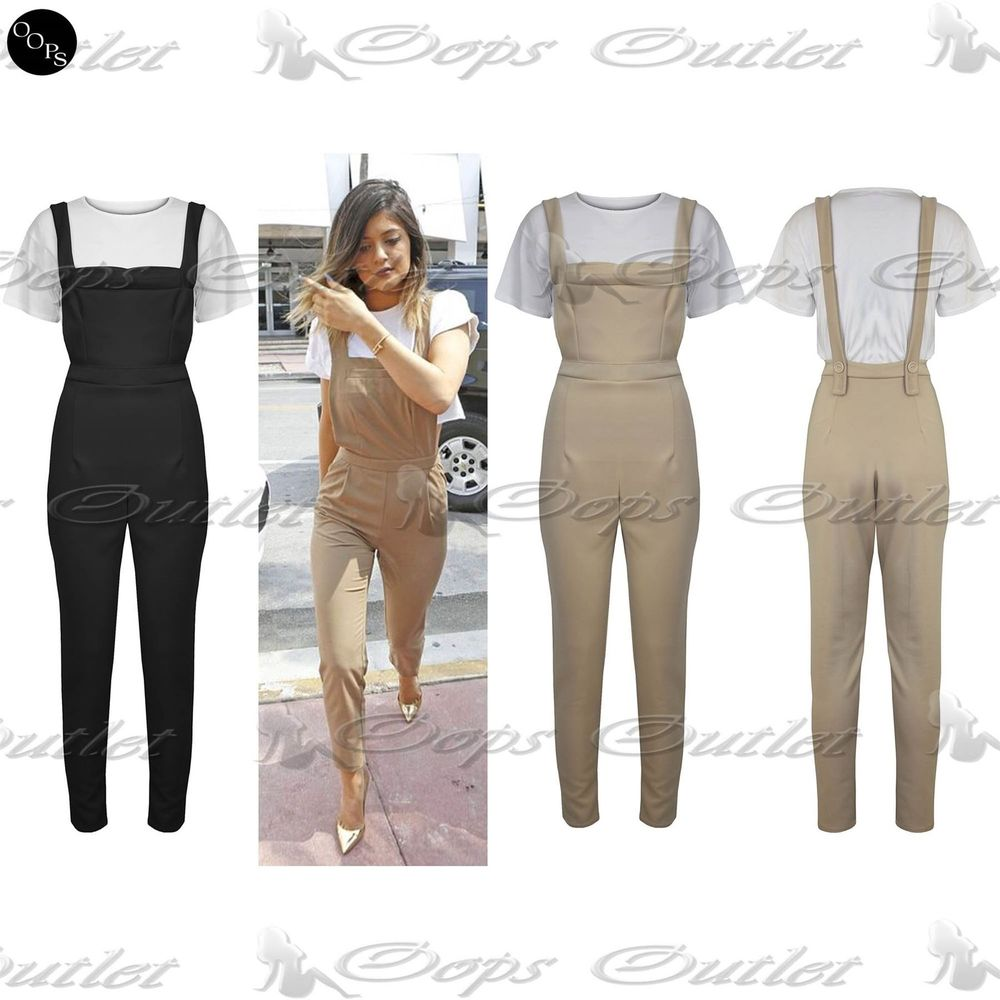 Womens Ladies Celebrity Crop Top Dungaree Pinafore Celeb Set Jumpsuit Playsuit | eBay