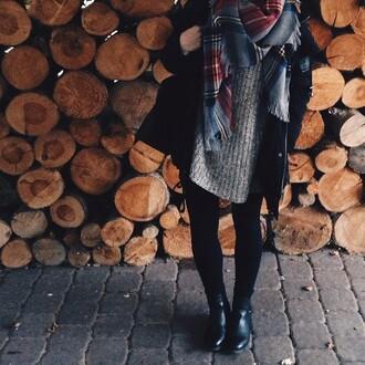 grey sweater scarf black boots black jacket