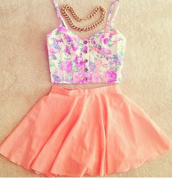 shirt floral bustier skirt coral gold chain skater skirt jewels top