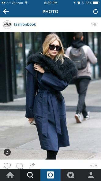 sunglasses black sunglasses gigi hadid fur scarf navy fall coat