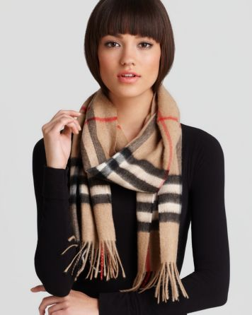 "Burberry Giant Check Cashmere Scarf, 12"" X 67"" 
