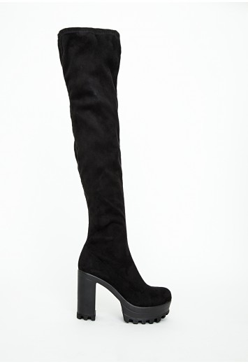 Over the knee cleated heeled boots