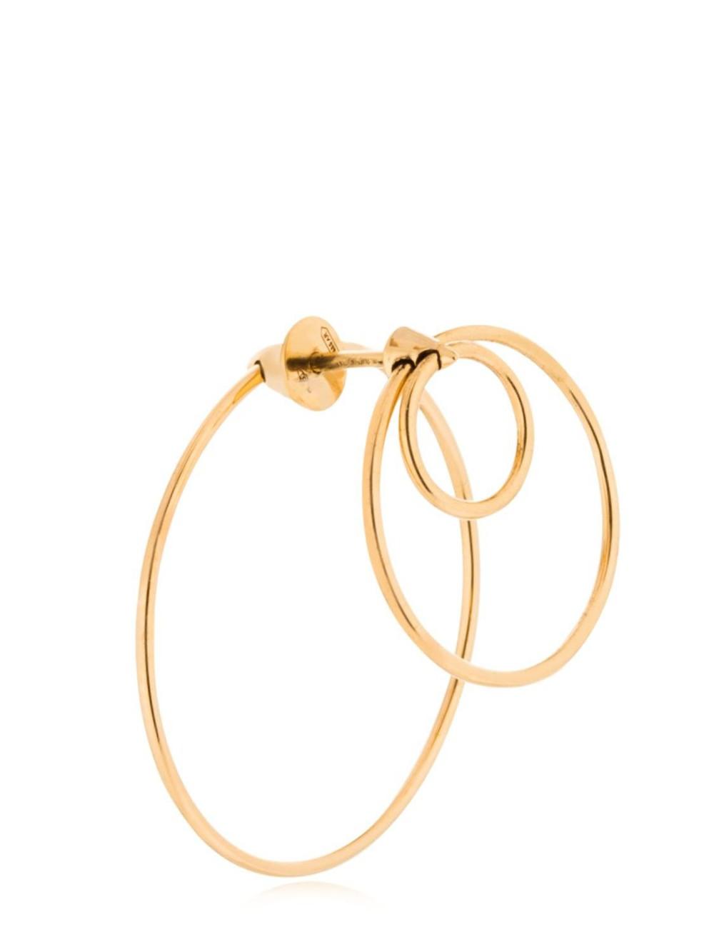 DELFINA DELETTREZ Twins Hoop Mono Earring in gold
