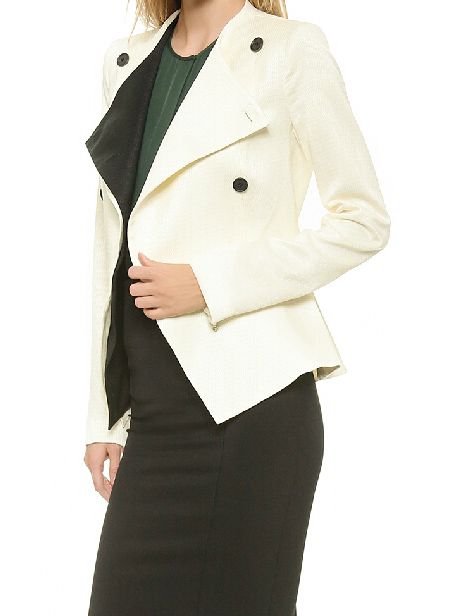 Black double breasted contrast white asymmetric peplum hem jacket