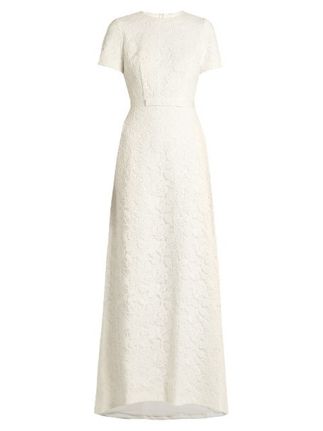 gown rose lace floral white dress